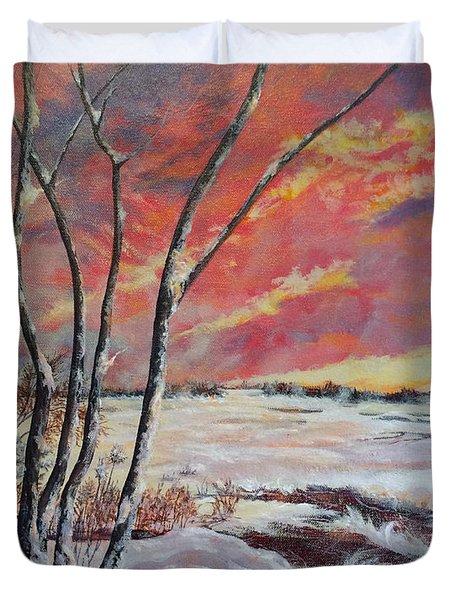 Winter Across The Lake  Duvet Cover