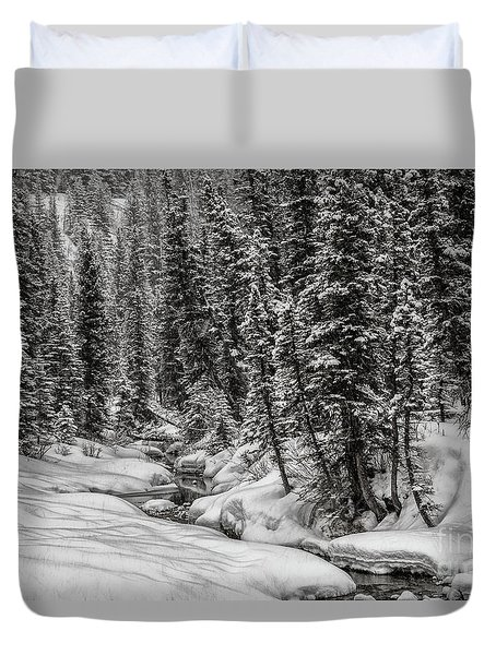 Winter Alpine Creek II Duvet Cover