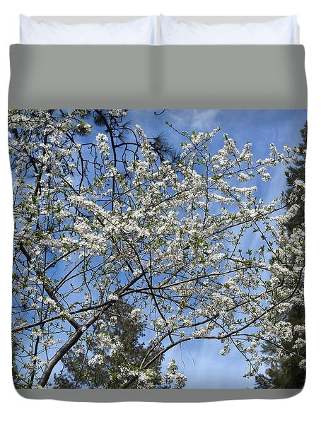 Winter Apple Blossoms Duvet Cover by Michele Myers