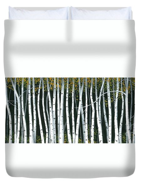 Duvet Cover featuring the painting Winter Aspen 3 by Michael Swanson