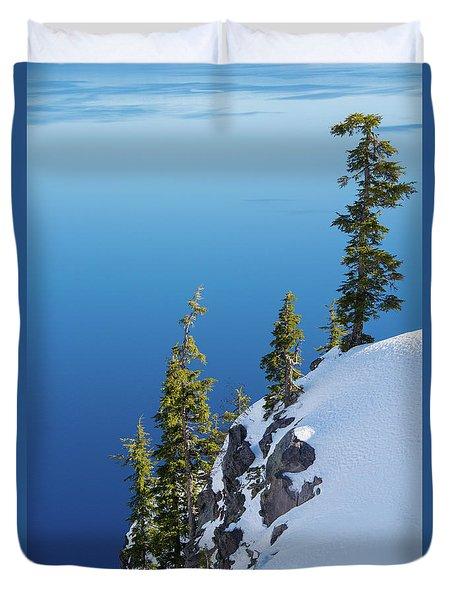 Winter At Crater Lake Duvet Cover