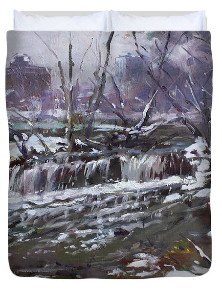 Winter At Goat Island Duvet Cover