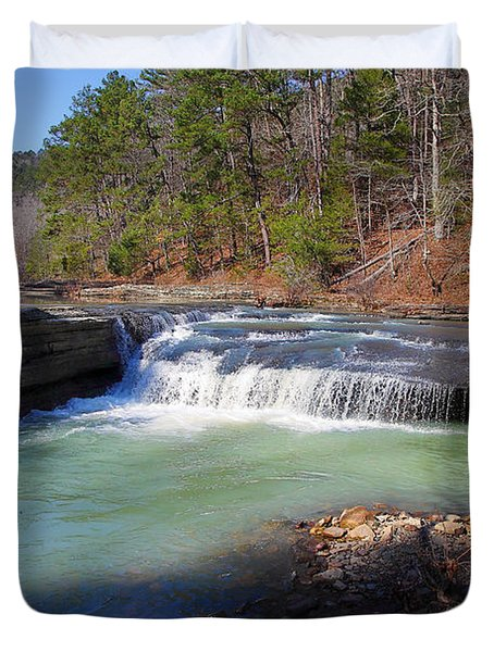 Duvet Cover featuring the photograph Winter At Haw Creek Falls by Michael Dougherty