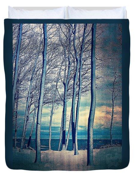 Winter At Lake Michigan Duvet Cover
