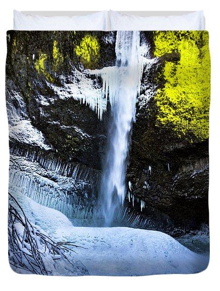Winter At Latourell Falls Duvet Cover