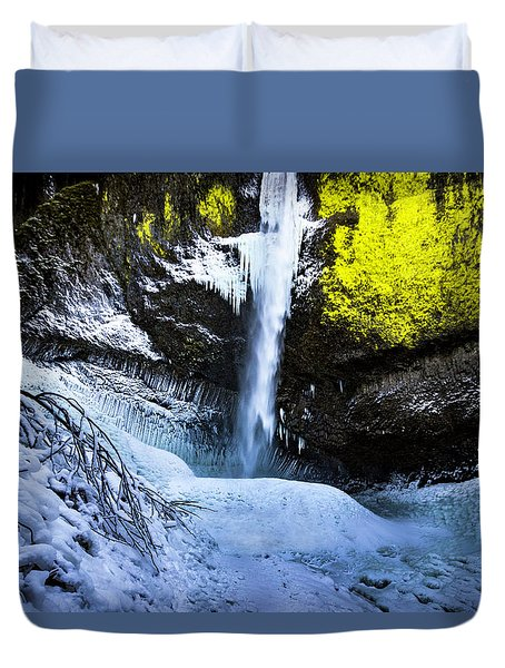 Winter At Latourell Falls Duvet Cover
