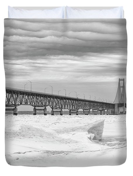 Duvet Cover featuring the photograph Winter At Mackinac Bridge by John McGraw