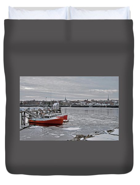 Winter At Newburyport Harbor Duvet Cover