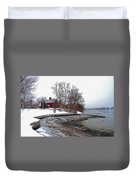 Duvet Cover featuring the photograph Winter At Perkins House  by Wayne Marshall Chase