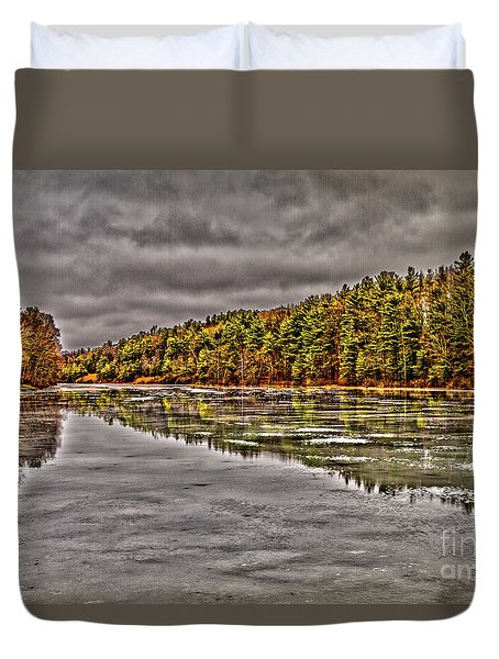 Winter At Pine Lake Duvet Cover