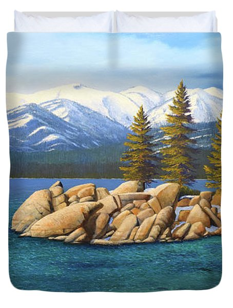 Winter At Sand Harbor Lake Tahoe Duvet Cover