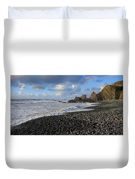 Winter At Sandymouth Duvet Cover
