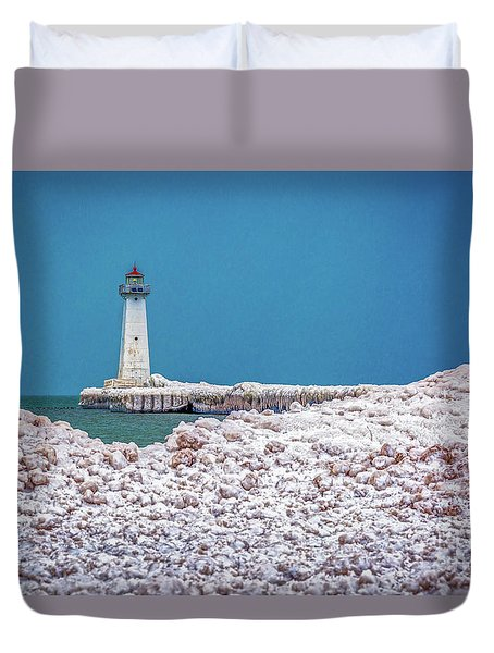 Winter At Sodus Point  Duvet Cover