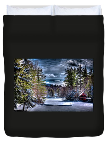 Duvet Cover featuring the photograph Winter At The Boathouse by David Patterson