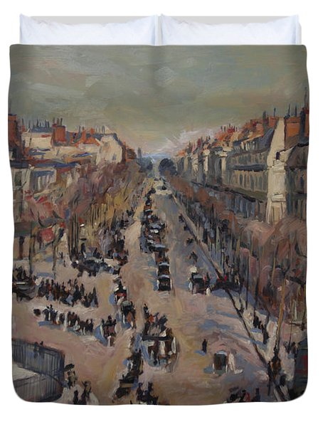 Winter At The Boulevard De La Madeleine, Paris Duvet Cover