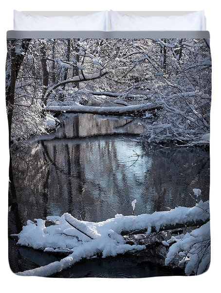 Winter At The Brook Duvet Cover