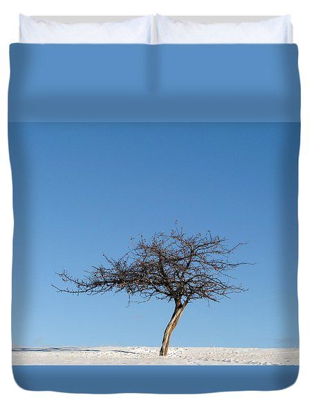 Winter At The Crabapple Tree Duvet Cover