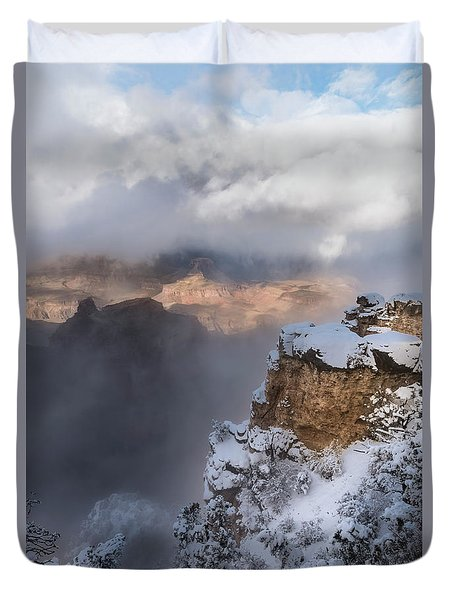 Duvet Cover featuring the photograph Winter At The Grand  Canyon by Sandra Bronstein