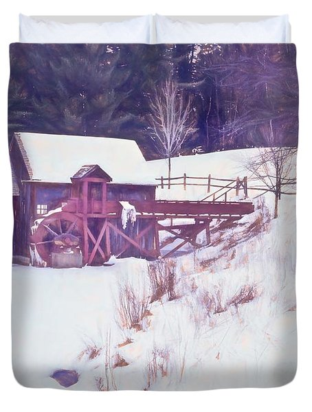 Winter At The Gristmill. Duvet Cover