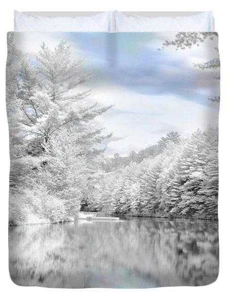 Winter At The Reservoir Duvet Cover by Lori Deiter