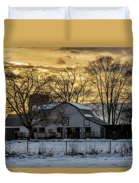 Duvet Cover featuring the photograph Winter Barn At Sunset - Provo - Utah by Gary Whitton