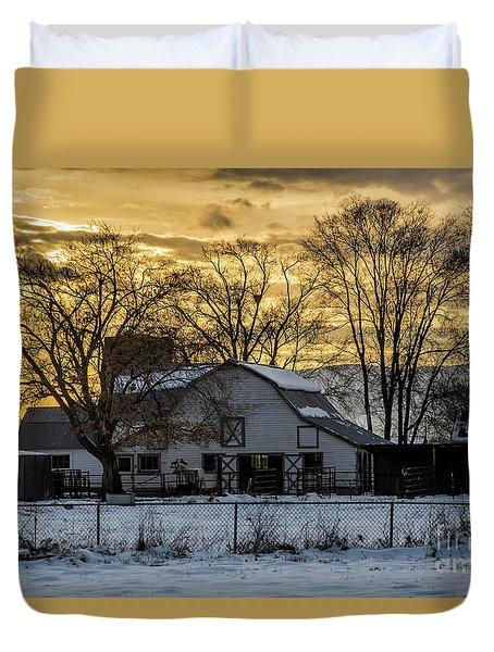 Winter Barn At Sunset - Provo - Utah Duvet Cover by Gary Whitton