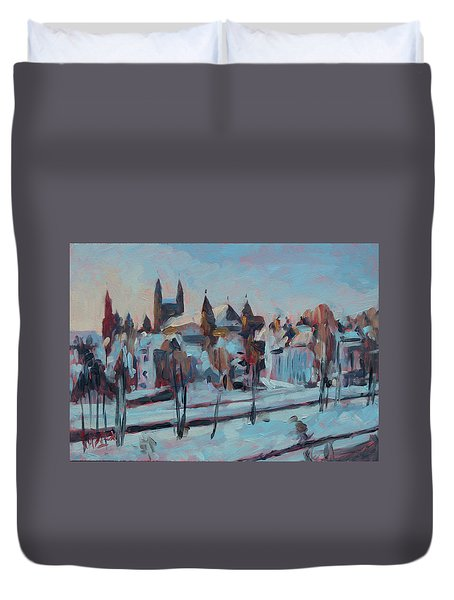 Winter Basilica Our Lady Maastricht Duvet Cover