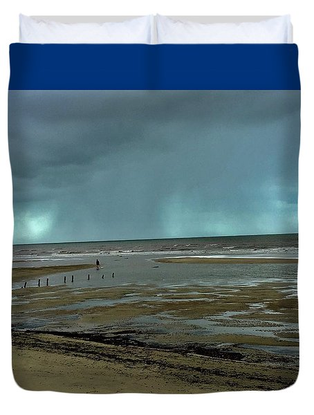 Duvet Cover featuring the photograph Winter Beach by Debbie Cundy