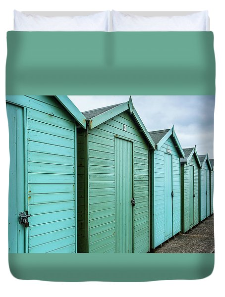 Winter Beach Huts IIi Duvet Cover