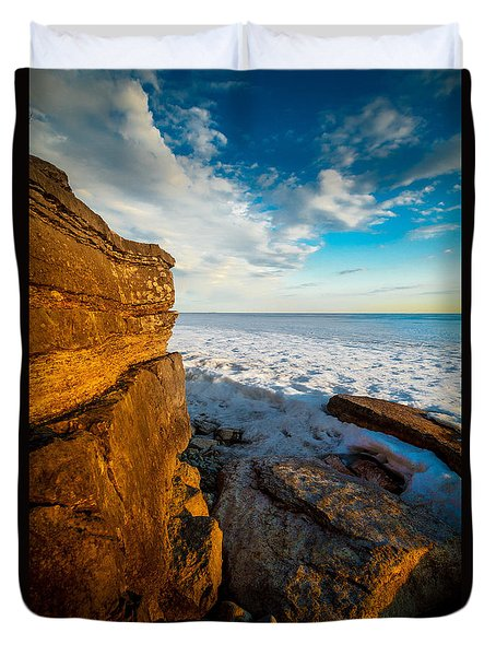 Winter Beach Sunset Duvet Cover
