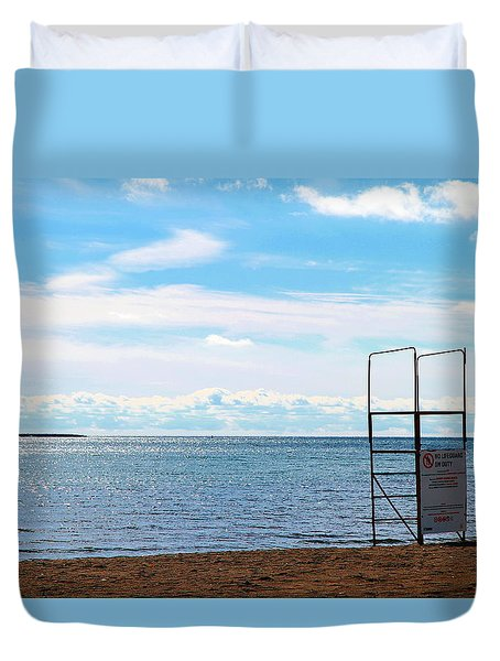 Duvet Cover featuring the photograph Winter Beach by Valentino Visentini