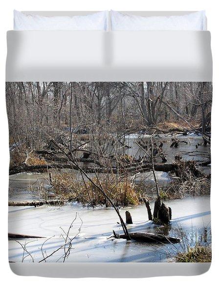 Winter Beaver Bog Duvet Cover