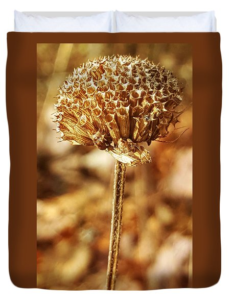 Duvet Cover featuring the photograph Winter Bee Balm by Bruce Carpenter