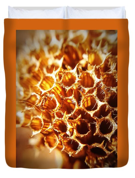 Duvet Cover featuring the photograph Winter Bee Balm Macro by Bruce Carpenter