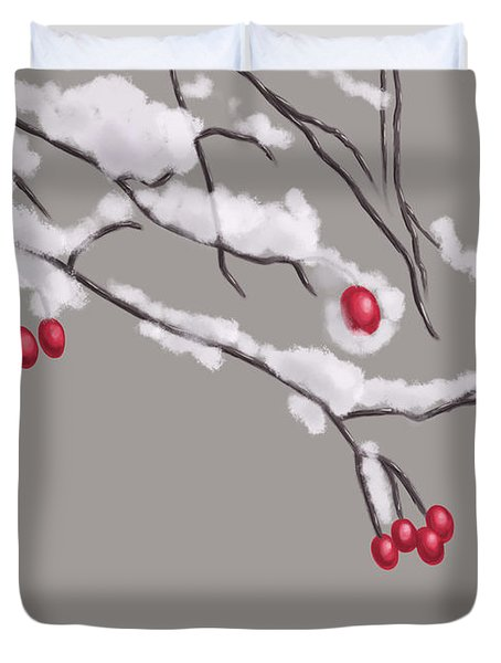 Winter Berries And Branches Covered In Snow Duvet Cover