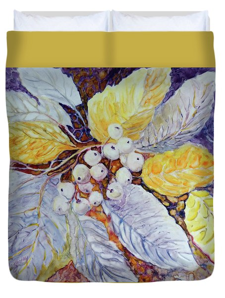 Duvet Cover featuring the painting Winter Berries by Joanne Smoley