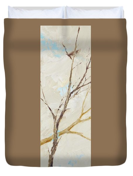 Duvet Cover featuring the painting Winter Birds 1 by Dina Dargo