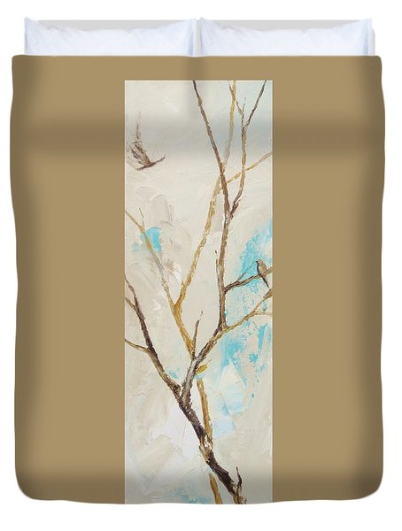 Duvet Cover featuring the painting Winter Birds 2 by Dina Dargo