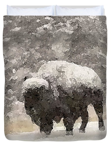 Duvet Cover featuring the digital art Winter Bison by Walter Chamberlain