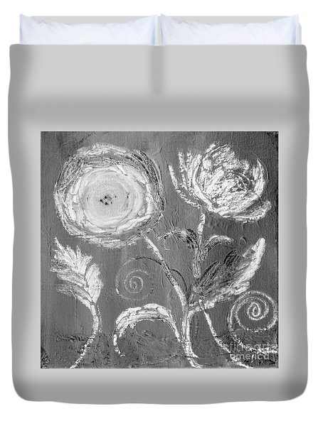 Duvet Cover featuring the digital art Winter Bloom II by Robin Maria Pedrero