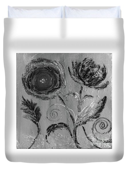 Duvet Cover featuring the digital art Winter Blooms IIi by Robin Maria Pedrero