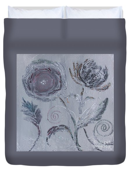 Duvet Cover featuring the painting Winter Blooms by Robin Maria Pedrero