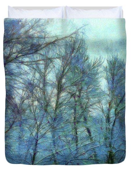 Winter Blue Forest Duvet Cover