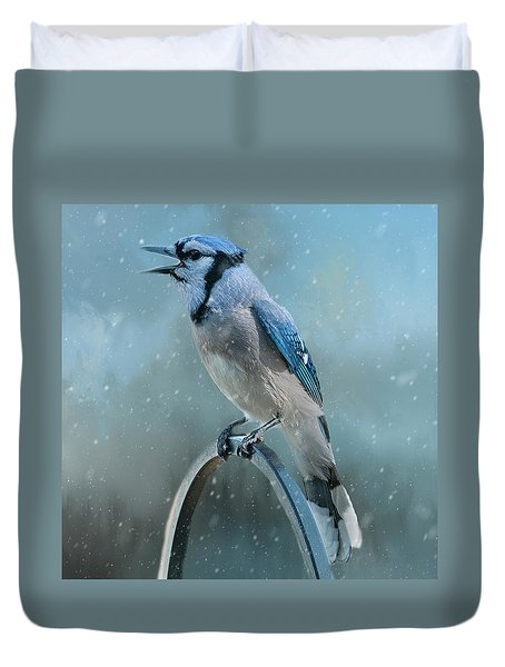 Winter Blue Jay Square Duvet Cover
