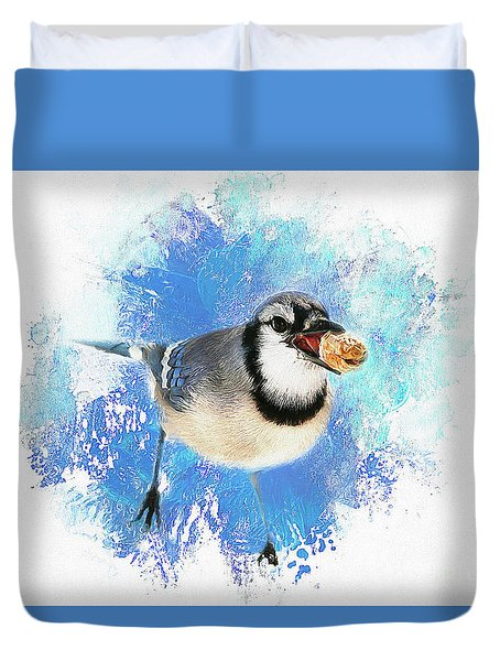 Duvet Cover featuring the photograph Winter Bluejay by Darren Fisher