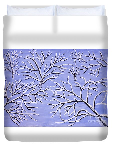 Winter Branches, Painting Duvet Cover