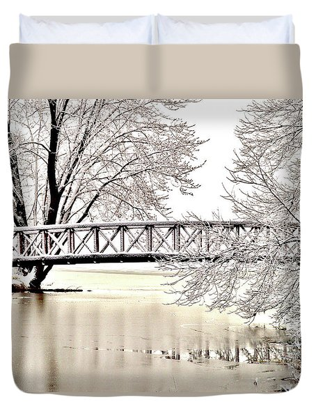 Winter Bridge Duvet Cover