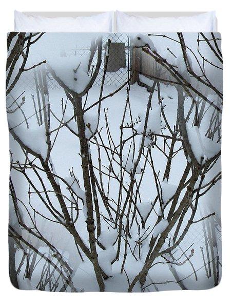 Winter Bush Tree Duvet Cover