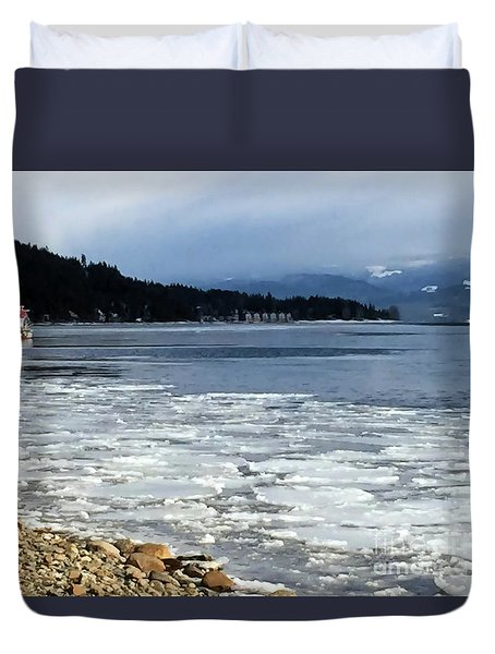Duvet Cover featuring the photograph Cottage Life In Winter by Victor K
