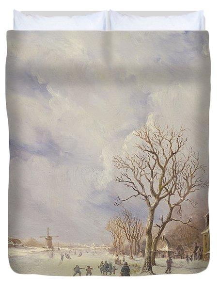 Winter Canal Scene Duvet Cover by Jan Lynn